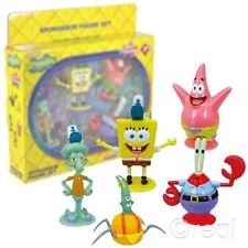NUOVO SPONGEBOB SQUAREPANTS 5 Figure Set Patrick Squidward Mr Krabs Ufficiale
