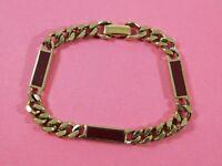 Vintage Signed AVON Gold Tone Chain Link Bracelet Burgundy Enamel 7.5 Inches