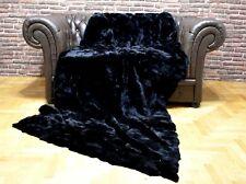 Luxury Real Black Rex Rabbit Throw Blanket