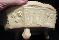 Very Rare Fenton Chocolate Slag Butterfly And Berries Bowl