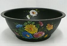 BEAUTIFUL TOLE HAND PAINTED TIN 11 INCH BOWL