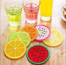 Lote de 6 posavasos de silicona coloridas frutas bebidas Copa vajillas DMX