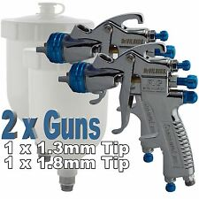 2 x Devilbiss SLG-620 Compliant Spray Gun Gravity Feed 1.3mm/1.8mm Paint/Primers