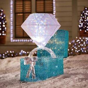 "46"" Lighted LED Twinkling Diamond Ring Gift Box Sculpture Christmas Yard Decor"