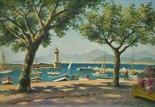 Tableau ancien huile marine bateaux Port de Saint Raphaël signé début XXème