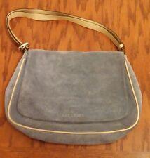 Sequoia Paris light blue gray suede purse