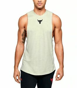 New Under Armour Project Rock Charged Cotton Tank Top Shirt Tan Men's 4XL