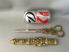 New ListingAntique Vtg Ornate Solingen Sewing Taylor Brass Scissors w Case Holder