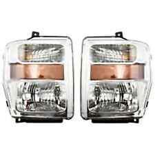 Fits 08-10 Ford SuperDuty F250, F350, F450, F550 L&R Headlamps W/Chrom Bez(pair)