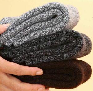 3 Pairs Mens 100% Merino Wool Fleece Cushioned Socks Thick Thermal Best Gift 5-8