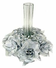 Candle Rings ~ SILVER ~ Silk Wedding Flowers ~ Centerpieces 25th Anniversary
