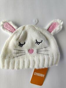 Gymboree Bunny Rabbit White Pink Baby Girl Beanie Hat 0-12 Months