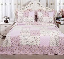 100% Cotton English Roses Bedding Quilt Bedspread Coverlet 3 PC Reversible Queen