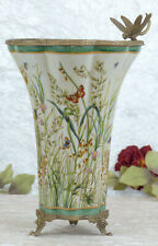 Porzellanvase Jugendstil Prunkgefäß Porzellan Bronze Vase Antik Amphore Libelle