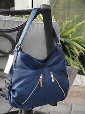 MICHAEL KORS PORTLAND LARGE ZIP SHOULDER TOTE NEW BAG LEATHER BLUE NAVY $348