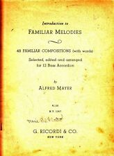 Introduction to Familiar Melodies Alfred Mayer Accordion Vintage Music Book