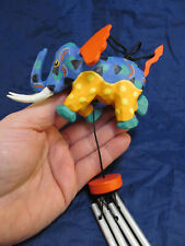 *Hand Painted Carved Wood Elephant Wind Chimes Fun Whimsical