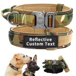 Personalized Nylon Military Tactical Dog Collar Buckle Adjustable Rottweiler M L
