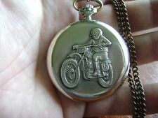 MOLNIJA Quartz Motorcyclist Soviet Russian ussr Pocket Watch Very RARE 1970s