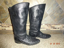 Vintage Womens ARPEGGIOS Sz 8M Black Leather Fashion Boots Flats Woven Detail