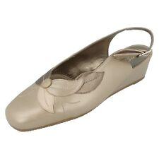 Ladies Equity Dark beige leather slingback wedged shoe UK 4 E fit SIERRA