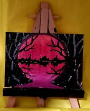 "Aceo original painting  ""blood moon"""