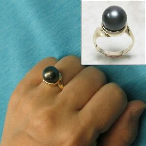11.5mm Genuine Black Tahitian Pearl 14k Solid Yellow Gold Solitaire Ring TPJ