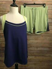 Reebok Womens Purple Green Tank Top Shorts Size XL Running Racerback Play Dry