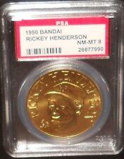 PSA 8 NM-MT 8 - Rickey Henderson 1990 Bandai Baseball Coins Oakland Athletics