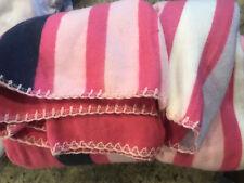 Pottery Barn Kids Bright Stripe Throw Blanket Pink Navy Blue White NEW