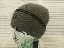 FRED PERRY Turn-Up Beanie Mens Twin Tipped & Ribbed Hat Charcoal Wool Cap BNWT