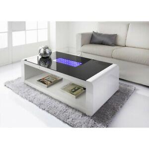 High Gloss infinity Coffee Table White LED Coffee table
