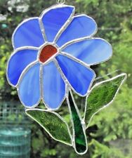 Handmade Stained Glass Flower, Daisy Light Blue Suncatcher