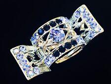 Hair Claw use Swarovski Crystal Clip Hairpin Vintage Silver Blue Barrette Big