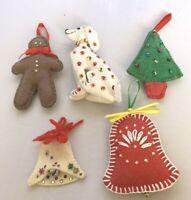 Lot of 5 Vintage Felt Christmas Ornaments Bell Gingerbread Man Tree Handmade