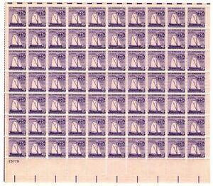 Scott 1095 1957 3¢ Shipbuilding Anniversary Full Sheet of 70 M OG NH