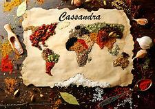 Planche à découper personnalisée dessous de plat épices du monde prénom réf 22