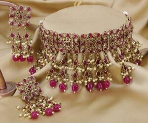 Gold Plated Kundan Choker Necklace Set Bollywood Bridal Indian Pearl Jewelry jew