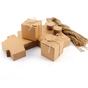 100 Wedding Favor Box Kraft Paper Cube Party Gift Cake Candy Bag Round Note Tag