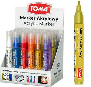 Acrylic Paint Marker Pens Permanent For Stone Leather Fabric Plastic 22 Colours!