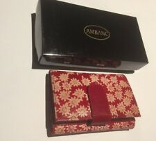 LADIES LEATHER WALLET AMBANC BRAND 28 CARDS EXECUTIVE (RED FLOWER ) AW-07
