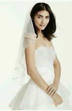 David's Bridal 2-Tiered Veil w/ Beaded Stitched Edge, Style V981, WHITE ($189)