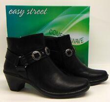 fbc0ecaa76b0 Women s Easy Street BAILEY Black Zip-up Bootie Ankle Boot Shoes Sz ...