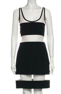 Moschino Couture Black Nude Mesh Inserts Cutout Mini Knit Dress Italian USA Sz 6