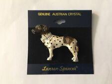 New Lauren-Spencer Pin Brooch Old Danish Pointer Dog Austrian Crystals