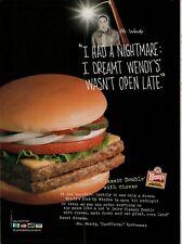 2004 Wendy's Old Fashioned Hamburgers Nightmare Spokesman Open Vintage Print Ad