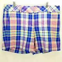 Talbots Size 16 Blue Pink Plaid Shorts Womens Flat Front Cotton  New W Tags $55