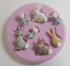 EASTER BUNNIES SILICONE MOULD FOR CAKE TOPPERS, CHOCOLATE, CLAY ETC