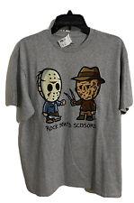 Rock Beats Scissors Freddy vs. Jason T-Shirt - Adult Large Size Oxford Gray Nwt