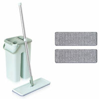 Flat Microfiber Mop and Bucket Set Green 360° Cleaning Home Cleaning 2 Pads